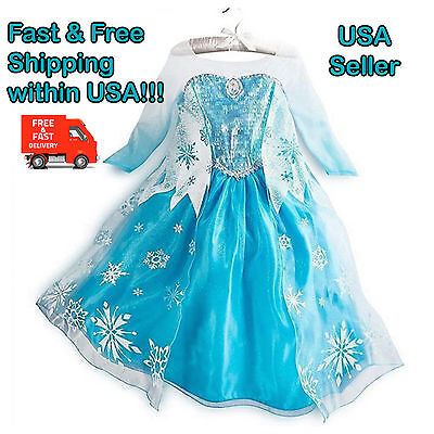 Frozen Queen Elsa Princess Girls Party Costume Dress for Halloween Cosplay - Queen Costumes For Halloween