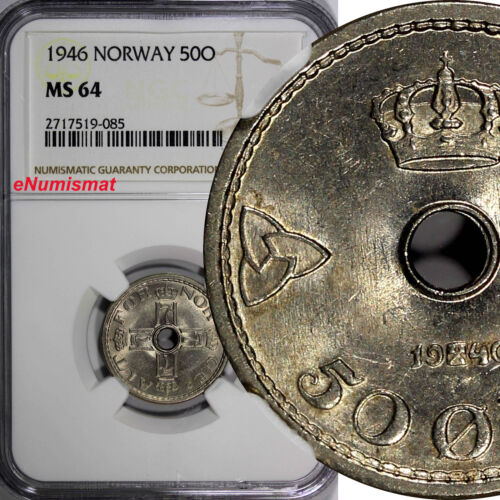 NORWAY Haakon VII Copper-Nickel 1946 50 Ore NGC MS64 1 GRADED HIGHEST  KM# 386