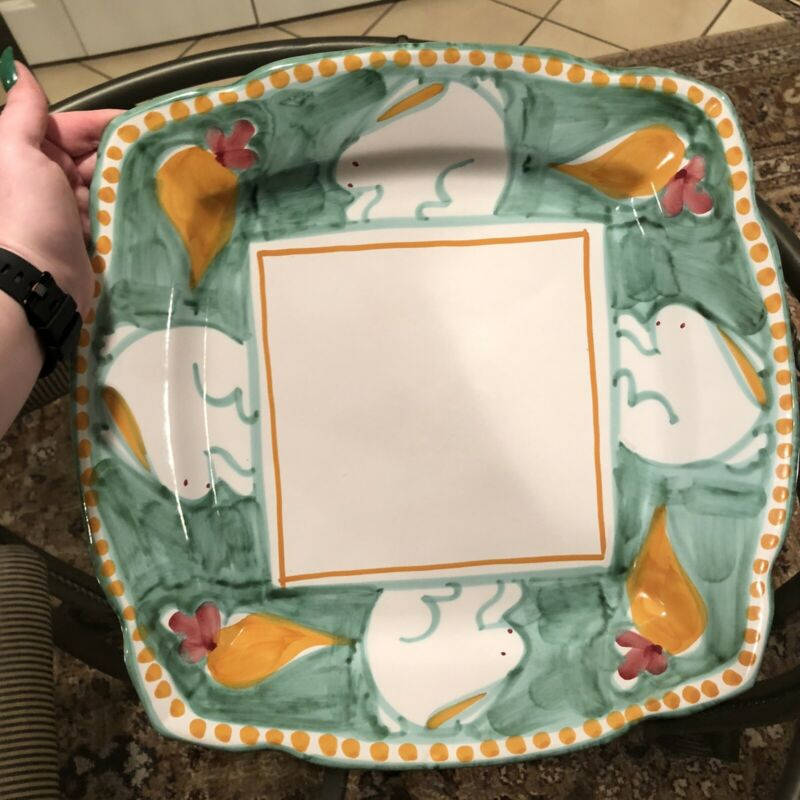 RARE Solimene Vietri Italy Holiday Easter Bunny Rabbit Large Serving Platter