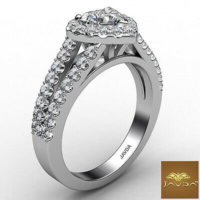 Halo Split Shank French Pave Heart Cut Diamond Engagement Ring GIA H VS2 1.25 Ct 2