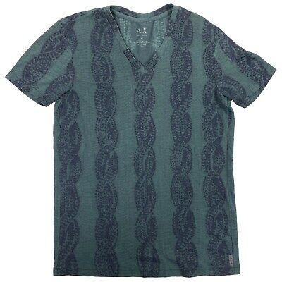 Armani Exchange A|X Green V Neck Braided Print Casual T-Shirt Mens XS X-Small