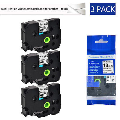 3pk Tze241 Tz241 34 Black On White Label Tape 18mm For Brother P-touch Pt-d400