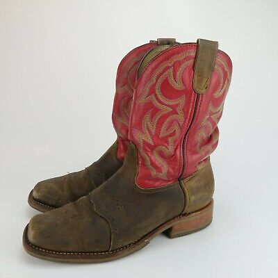 DOUBLE H DH3556 Roger SADDLE VAMP Square Toe Brown Red WESTERN BOOTS Size 12 2E