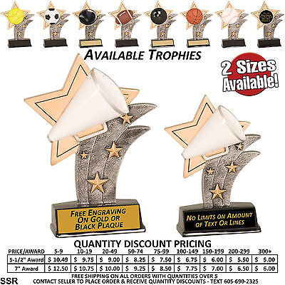 Sports Star Awards Trophy  All Sports - Free Custom Plaque - Bowling Basketball (Star Trophy)