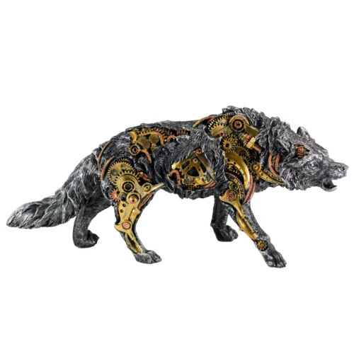 "Steampunk Wolf Figurine With Gears 15"" Long Detailed Resin Statue New In Box!"