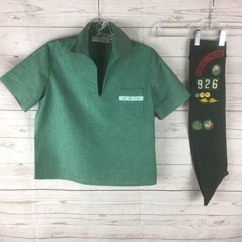 Vintage Girl Scout Uniform Blouse Sash Badges Patches