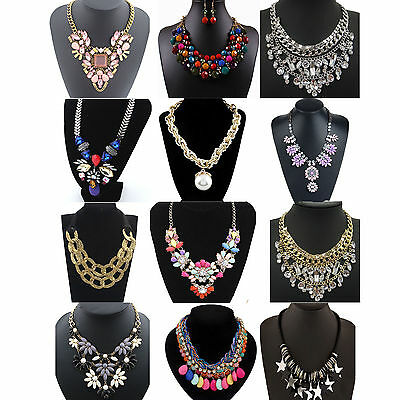 Fashion Pendant Chain Crystal Choker Chunky Statement Bib Necklace Jewelry CHIC