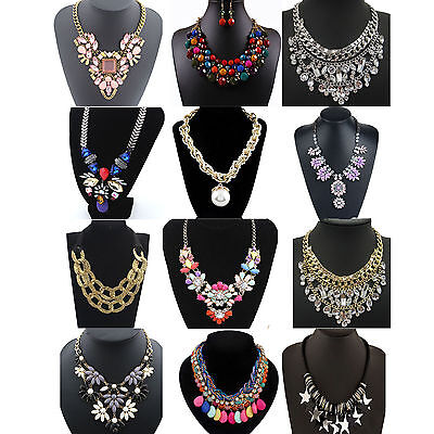 Necklace - CHIC Fashion Pendant Chain Crystal Choker Chunky Statement Bib Necklace Jewelry