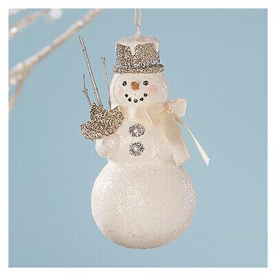 "3.75"" Bethany Lowe Silver Glitter Snowman Retro Vntg Christmas Ornament Decor"