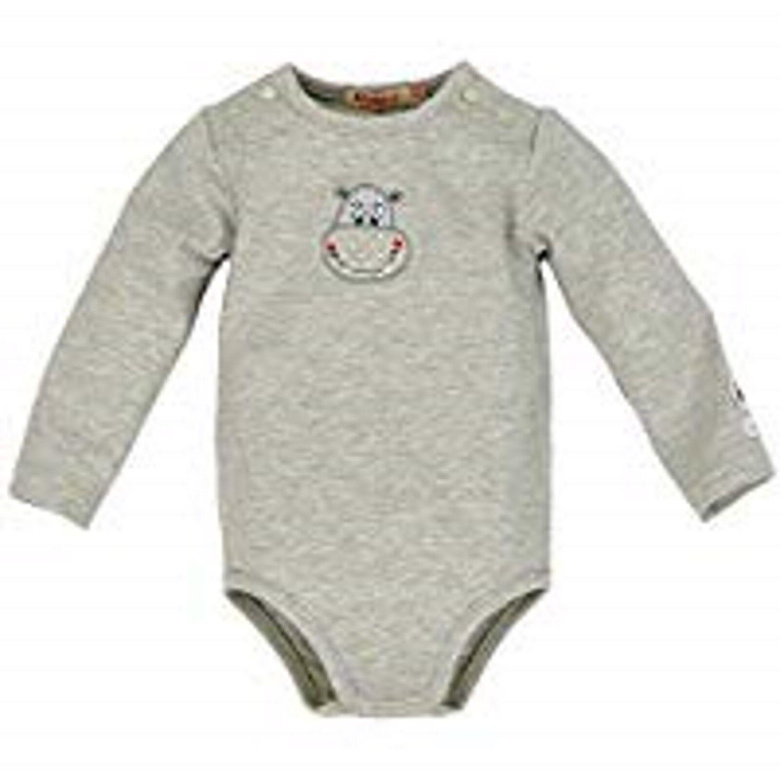 Bondi Body Baby Jungen Mädchen Langarm HiPPo Grau Gr. 56 62 68 74 80 NeU