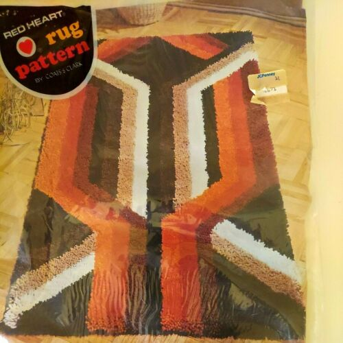 """Red Heart Latch Hook Rug Pattern Backing 6654  27""""x 54"""" New Old Stock Sealed"""