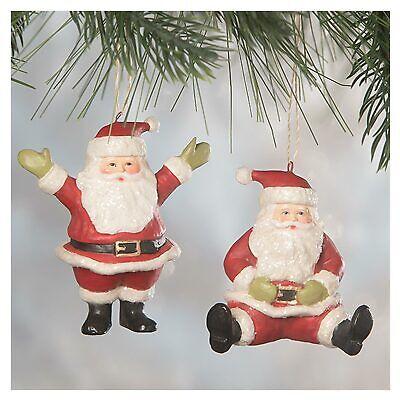 Set/2 Bethany Lowe Classic Santa Claus Retro Vntg Christmas Tree Ornaments Decor