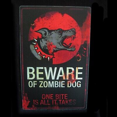 Metal Tin Sign Zombie Warning Dog Scary Halloween Party Decoration 11