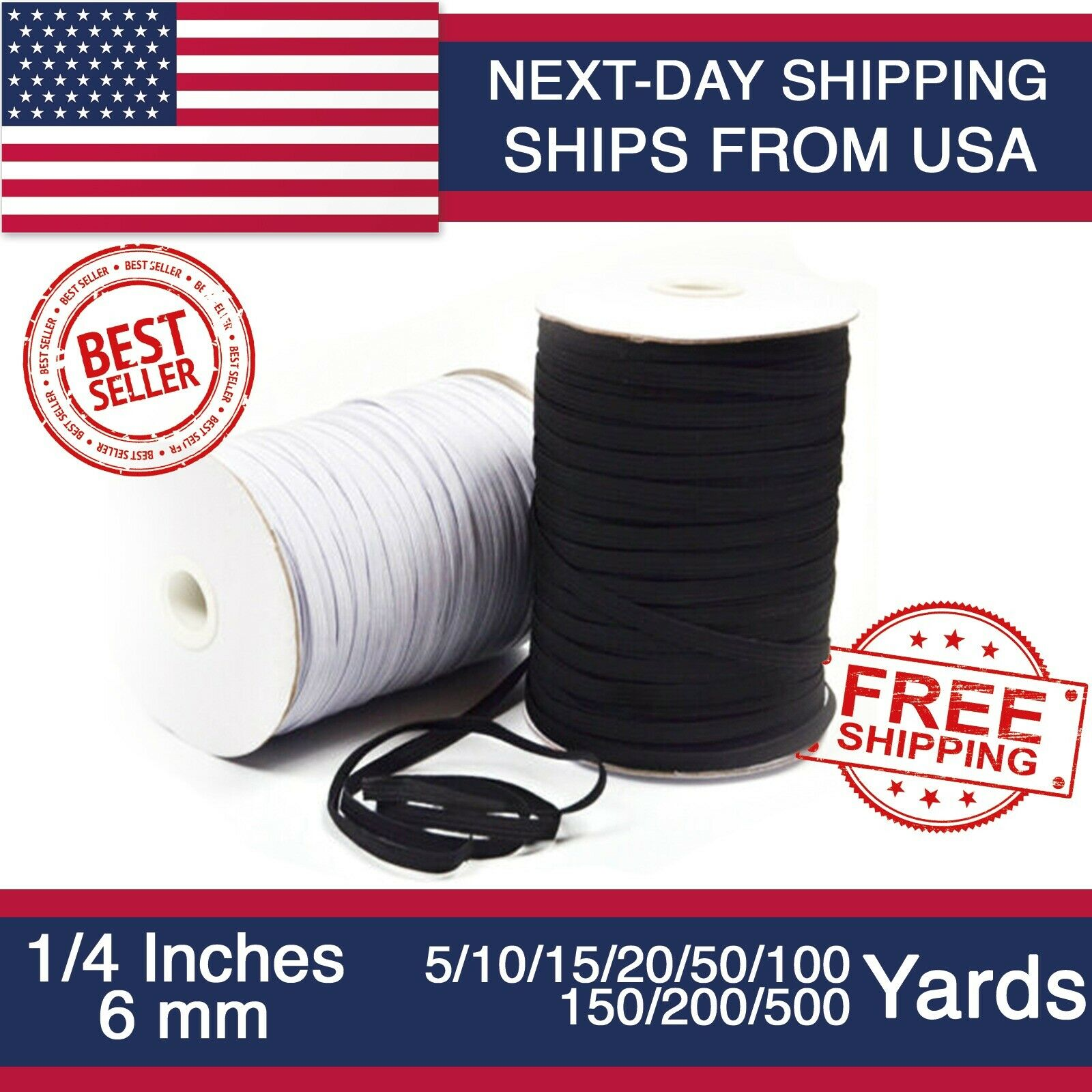 White 5 yards Elastic Band 1//4 inches width 6mm