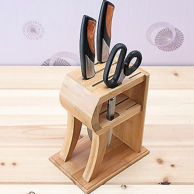 6 hole Bamboo Wood KNIFE BLOCK holder storage box Organizer for kitchen cutlery