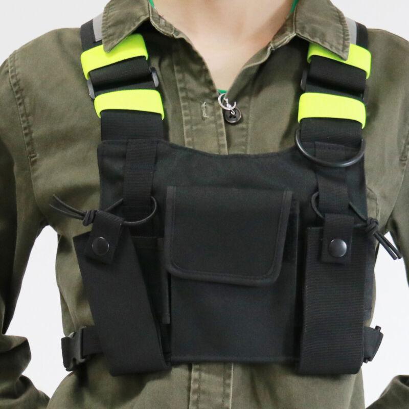 4 Pocket Radio Pocket Chest Harness Front Pack Pouch Holster Vest Rig Motorola
