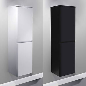 Wall hung mdf black white gloss bathroom side cabinets storage furniture ebay - Bathroom cabinets black gloss ...