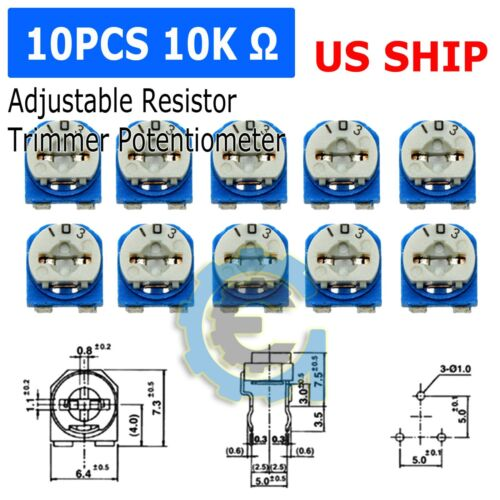10pcs 10K ohm 103 Adjustable Resistor Trimmer Potentiometer RM065- US Seller