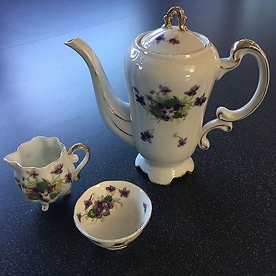 Vintage SWEET VIOLETS Tea Set Bone China  Sugar Creamer Tea Pot