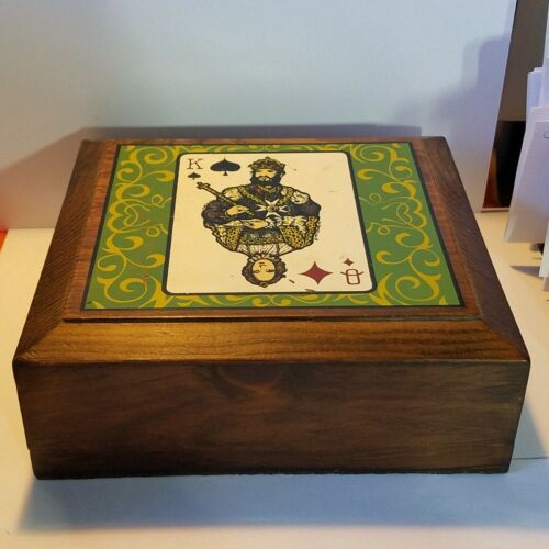 Vintage Wooden Poker Chip Holder Hinged Case Box King Queen 70s Signed Ganby Inc
