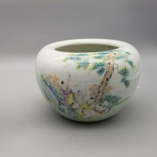 Antique Chinese Famille Rose Character Porcelain Brush Washer water pot