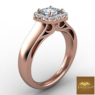 Asscher Diamond Engagement GIA H VVS2 18k White Gold Halo Pave Set Ring 0.7Ct 10