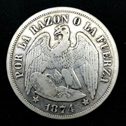CHILE PESO - CONDOR SILVER CROWN - 1874  KM# 142.1