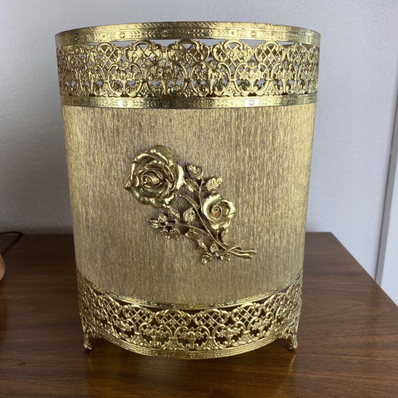 Vintage Garbage Can Cover Gold Gilt Filigree Hollywood Regency Floral Roses