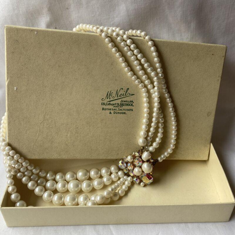 Vintage Costume Jewellery Faux Pearl Aurora Borealis Multi Strand Necklace Boxed