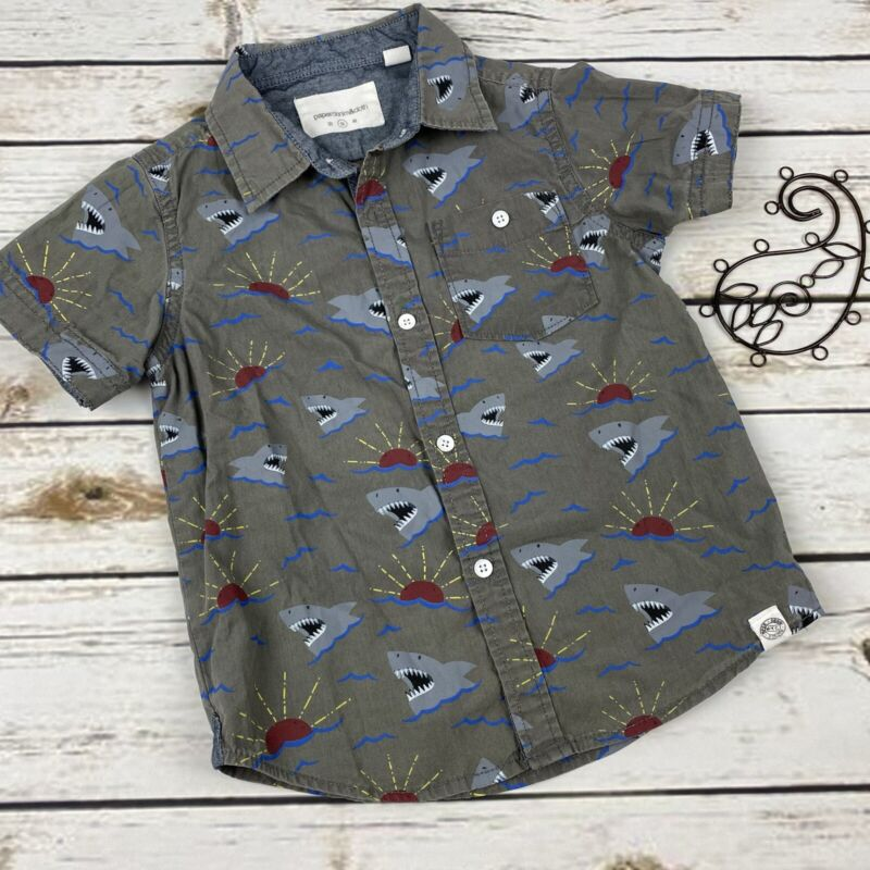 Paper Denim Cloth Button Up Shirt Boys 3t Sharks Sunset Short Sleeve