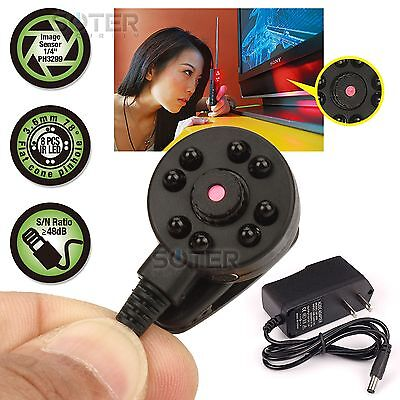 Micro Mini Hidden Color Audio Spy CCTV Camera Night Vision with 5V Power Supply ()