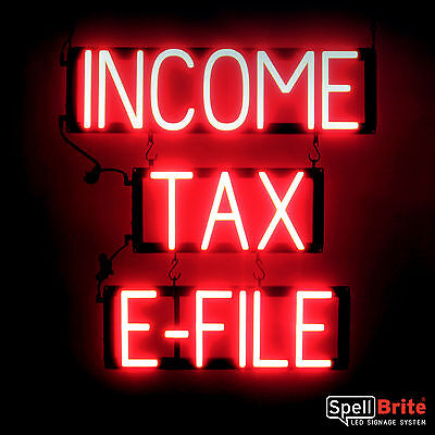 Spellbrite Ultra-bright Income Tax E-file Sign Neon Look Led Performance