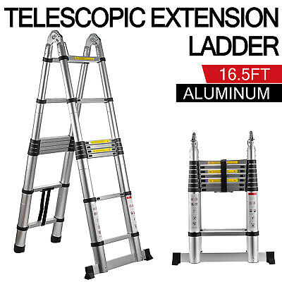 Folding 16.5ft Multi Purpose Telescopic Extension Ladder Aluminum Adjustable