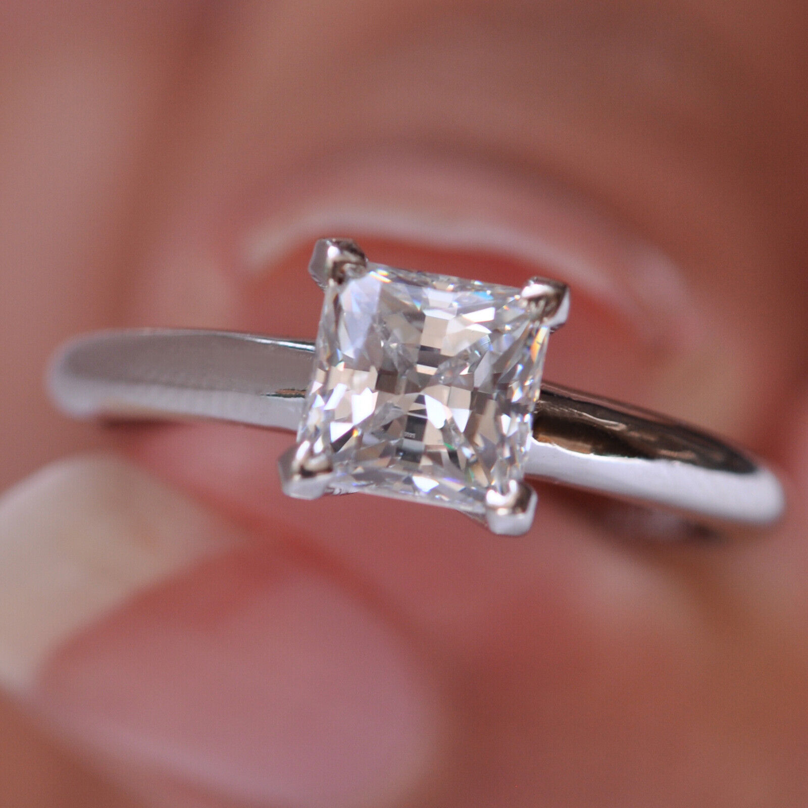 1.85 Carat Princess Shape Solitaire Women's Wedding Ring - 925 Sterling Silver 4