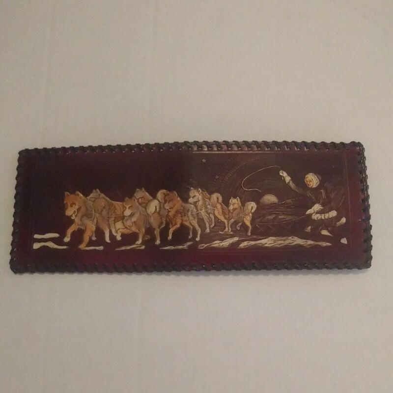Vintage Tooled Wales Genuine Cowhide Dog Sled Wallet Never Used