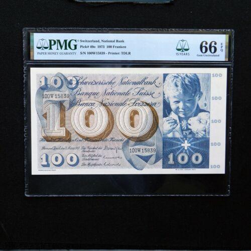 1973 Switzerland 100 Franken, Pick # 49o, PMG 66 EPQ Gem Uncirculated