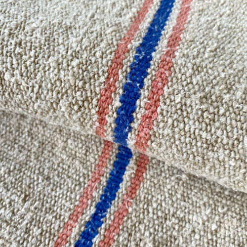 RARE Striped Grainsack Late 1800s Coral French Blue Striped Linen Grain Sack