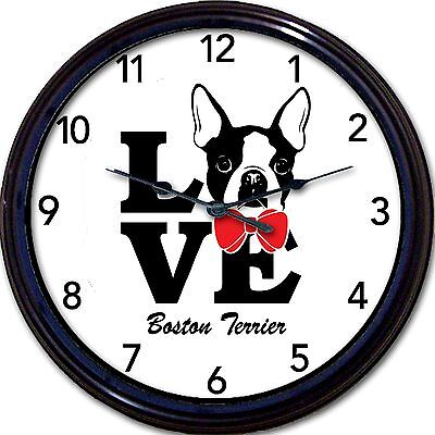 Boston Terrier Dog Wall Clock Love Canine Dogs Custom Personalize it New 10