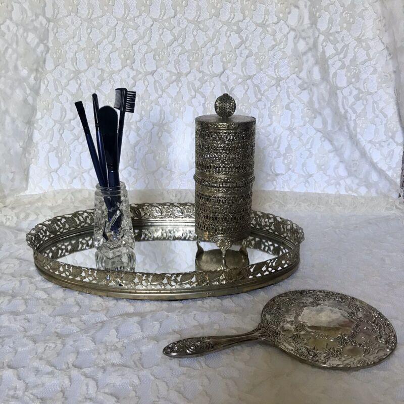 Vintage Oval Filigree Framed Vanity Mirror Perfume Tray Gold Tone Silver Patina