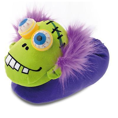 Halloween Monster Tier Hausschuhe Pantoffel Schlappen Plüsch Kinder Lila (Halloween Schuhe)