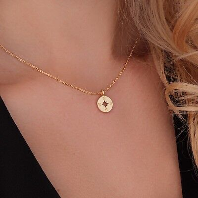 Compass Necklace Gold Going Places Charm Journey Good Luck Jewelry Gift