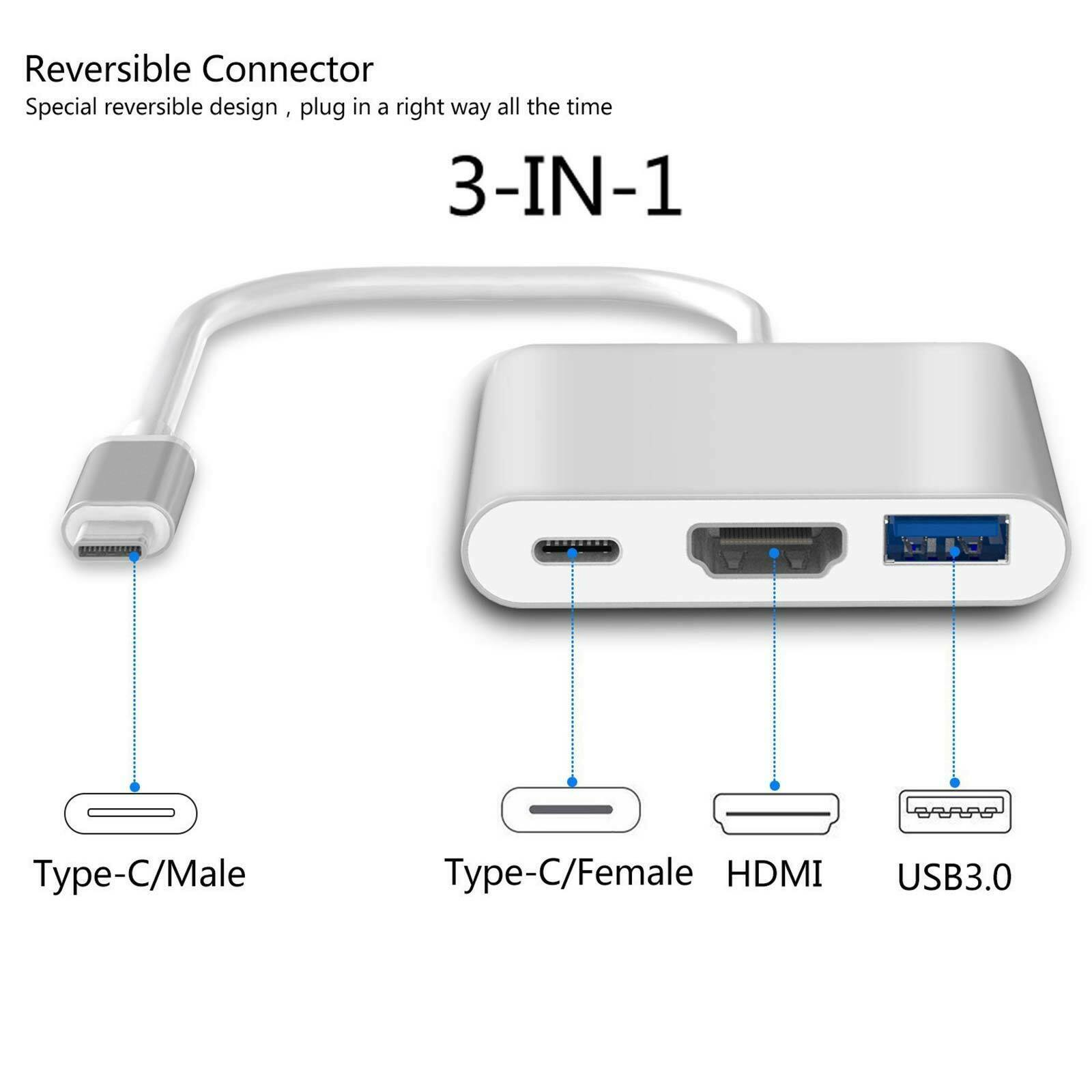 Type C USB 3.1 to USB-C HDMI 4K USB 3.0 HUB Cable Digital AV Multi Port Adapter