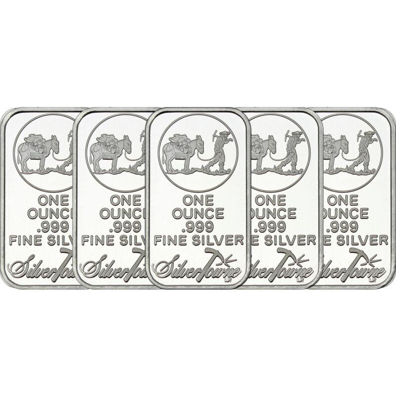 SilverTowne Logo 1oz .999 Fine Silver Bar LOT OF 5
