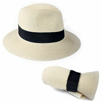 Men Women Straw Fedora Panama Style Packable Travel Sun Hat