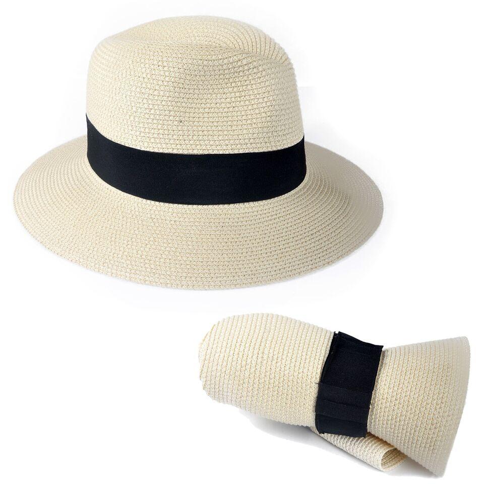 Men Women Straw Fedora Panama Style Packable Travel Sun Hat