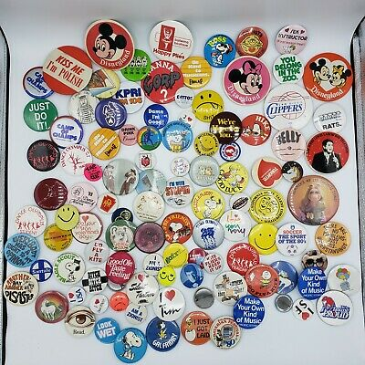 Large Vintage Pin Back Button Lot 1950s-1990s Charlie Brown Disney 85+