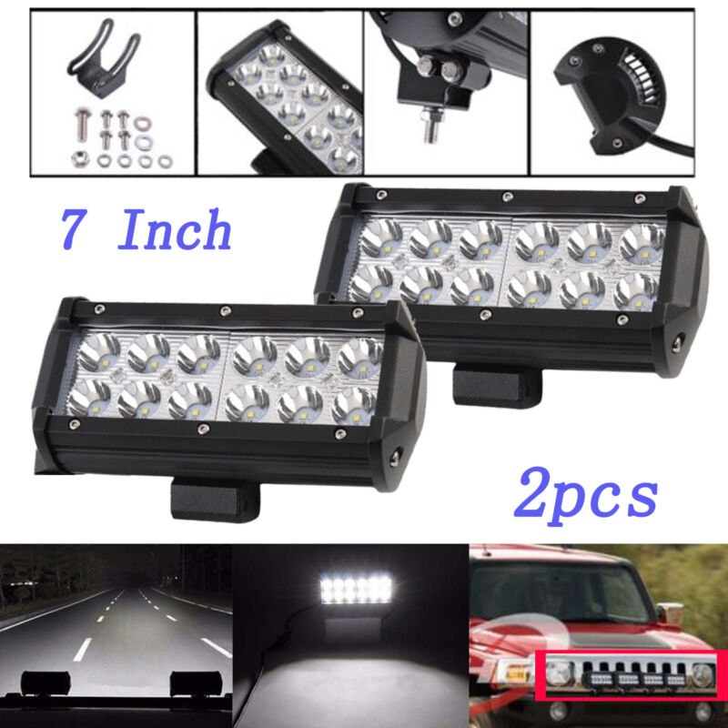 7 Inch 36W LED Work Light Bar Flood Beam Offroad Driving Lamp UTB Cab SUV 12V