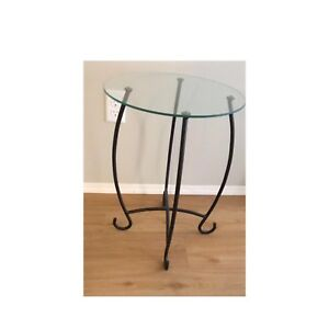 Glass and metal end table