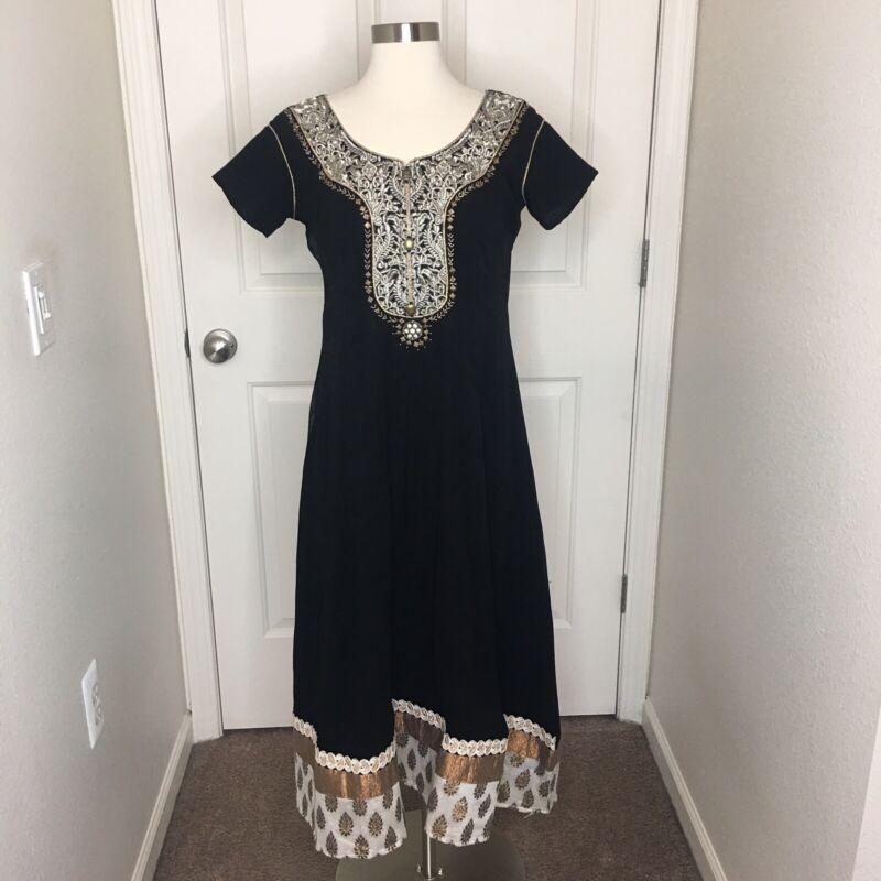 Made in India Black Dress Sz S Short Sleeve Embellished Crystals Brocade Gold