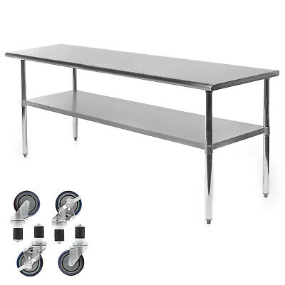 Commercial Stainless Steel Kitchen Food Prep Work Table W 4 Casters - 24 X 72